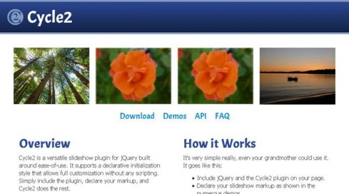page d'accueil de jquery-cycle2
