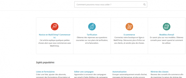 En passant : L'aide de Mailchimp est disponible en français